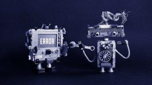 Error concept poster. Oil paint effect.